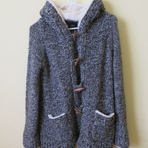 Zara Long Gray Hooded Sweater Medium